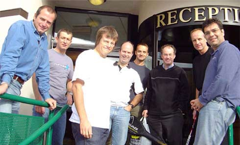 Outside the hotel, (left to right) Richard, Mark Smith, Martin, Kim, Lawrence, Mark Davis, Adrian and Ferlin